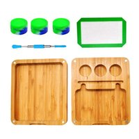 Bamboo Case E-cigarette Kit Box Packaging Dab Tool Oil Rig Nail Starter Kits for Rolling Cigarette with Silicone Mat Wax Container Jar
