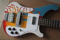 Rick 4003 4 cordes Guitare basse, basse droitière, corps de motif de cerisier, incrustation de coquille de bois de rose, body d'acajou24 frettes