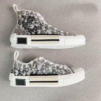 2021 Yayınlanan B23 Yüksek Üst Sneakers Eğik Ayakkabı Erkek Kadın Açık Tasarımcı Rahat Şeffaf Harfler Düşük Eğitmenler Tuval Kutusu Ile