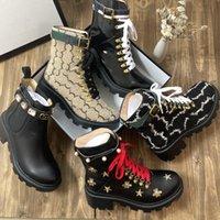 2021 Designer Frauen Stiefel Sexy Dicke Ferse Desert Platform Boot Bienenstar Echtes Leder Winter Schuhgröße 35-42