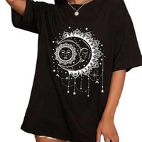 Women's T-Shirt Mid-length Round Neck Short Sleeve Women 's Top Print Large Size Loose O-neck Casual Black Regular Tees Summer