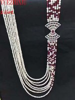 NEWNATURAL 7HOWS WHITE WHITE FRESHWATER PEARLE RED GARNET MICRO INLAY ZIRCON Accessoires Collier Bijoux fins 20 pouces