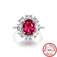 Princess Diana Ruby Diamond Ring 100% Real 925 sterling Silver Engagement Wedding Band Rings For Women Party Promise Jewelry