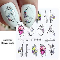 Nail Art Kits 1 2 4pcs Flower Stickers Purple Blue Water Decals For Nails Line Spring Manicure Decor Slider Wraps