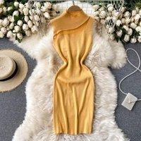 Robes décontractées teeueear maille patchwork tricoté bodycon sexy robe courte robe mince réservoir femme fête stretch club