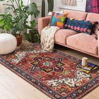 أزياء الأمريكية الفارسية السجاد الرجعية هندسة الأحمر زهرة تصميم غرفة المعيشة غرفة نوم خمر 3d العرقية السرير البساط قابل للغسل 210301