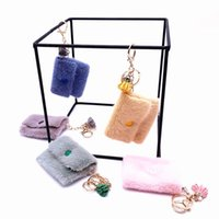 Keychains Fluffy Coin Purse Key Chain Faux Fur Tassel Flower Keyrings For Women Car Bag Moible Phone Pendant Holder Jewelry Gift