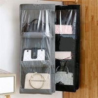 Storage Boxes & Bins 6 Pocket Hanging Organizers Folding Handbag Transparent Wardrobe Closet Bedroom Supplies Space Saver Holder Sundry Bag