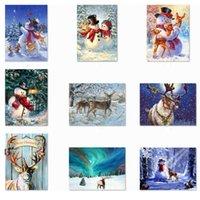 5D DIY Navidad Taladro completo Rhinestone Diamond Pinting Kits Cross Stitch Santa Claus Muñeco de nieve Decoración del hogar NHA6242