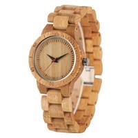 손목 시계 미니멀리스트 스케일 라운드 다이얼 전체 나무 시계 럭셔리 자연 나무 팔찌 시계 남자 세련된 여성의 시계 후크 버클 탑 선물