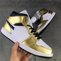 Металлическое золото Новый 1 Mid Mens спортивная обувь мода на открытом воздухе спортивная обувь 1s og золотая белая женщина кроссовки кроссовки