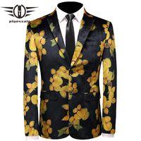 Costumes pour hommes Blazers Plyesxale Noir Jaune Floral Floral Blazer Hommes 2021 Fashion Flower Print Stade Prade Porter Mens Casual Jacket Q151