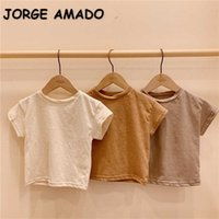 Spring Kids Girls Boys T-Shirts Solid Color Short Sleeves Casual Style Blouses Children Clothes E03 210610