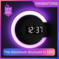 Desk & Table Clocks 3D LED Digital Wall Clock Alarm Mirror Hollow Watch 7 Colors Temperature Nightlight For Home Living Room Decorations
