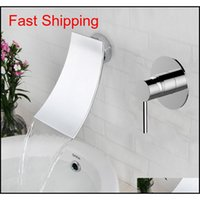 Black Brass Wall Mounted Basin Faucet Waterfall Faucet Single Handle Bathroom Mixer Tap Hot Cold S qylmgy hairclippersshop
