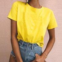 100% algodón amarillo liso tshirt tshirt women gato t shirt tops blanco tops mujer personalizado al por mayor ropa de dropshipping 210302