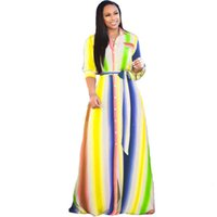 Plus Size Women Dresses Spring Printed Lapel Neck Long Single Breasted Loose Maxi Dresses with Sashes