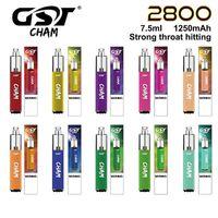 Authentic GST Cham Dispositivo de vagem descartável 2800 Puffs 1250mAh Bateria 7,5ml Capacidade Preffurada Vape Pen vs Bar Max Air Plus