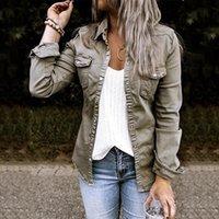Damenjacken Einzigen Breasted Denim Frauen-Hemd Top Umdrehende Kragen Feste Slim Weibliche Hemden Herbst 2021 Mode Damen Lässige Jeans Mantel