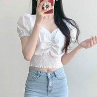 Women's T-Shirt Female short shirt, female version, women's blouse, solid color, corset, buffing sleeve, turtleneck v, streetwear 9BI8