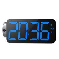 Zegary ścienne Projection Alarm Clock Radio Cyfrowy do sypialni Ekran LED z ładowarką USB 3 ściemniacz 12/24 godzinę