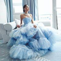 Sky Blue Dresses Off Shoulder Multilayered Ruffles Evening Dress Custom Made Sleeveless Floor Length Party Gown