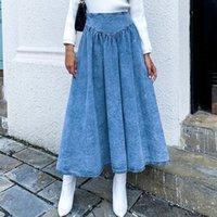 Faldas Mujeres Maxi Blue Denim Falda Plisada 2021 Otoño Invierno Primavera Slim Cintura Jeans Largos Oficina Sólida Casual Señoras