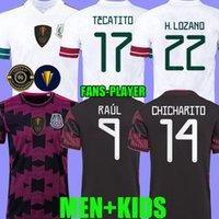 2021 Mexique Jerseys de football Concacaf Gold Cup Camisetas 21 22 Ventilateur Version du joueur Chicharito Lozano Dos Santos 2022 Guardado Chemise de football à manches longues Enfants Kit Haut