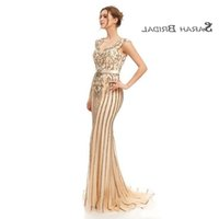 Luxury Champagne Tulle Mermaid Crystals Prom Beading Party Dresses 2019 Sexy Elegant Vestidos De Festa Evening Occasion Gown 5399