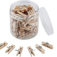 300 مجموعات دفع دبابيس مع مقاطع خشبية طبيعية thumbtacks pushpins ورقة مقاطع مشابك الغسيل