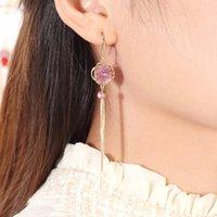 Dangle Chandelier UER squisito zircono cristallo rosa flower goccia orecchini per le donne color oro in ottone lungo catena lunga nappa gioielli moda
