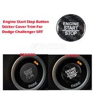 1 peça carro 3d Fibra de Carbono Engine Start Stop Button Adesivo Capa de Capa Para Dodge Challenger Srt Acessórios