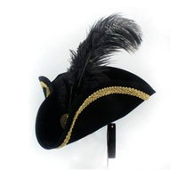 Wide Brim Hats Feather Pirate Hat Women Men Cosplay Royal Court Top Caps Dress Up Props Masquerade Party Halloween Christmas Size 56-58CM