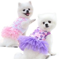 Dog Apparel Pet Cat Bed Skirt Clothes Spring Summer Teddy Bear Products Peach Blossom Cotton