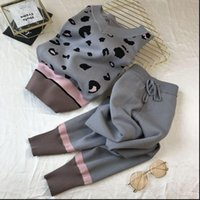 Loungewear V neck Spotty Womens Tracksuits Print Loose Knit Pullover Top Elastic Pants Set Matching for Women Two Piece Outfits