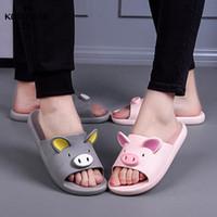 Encantadora pareja suave dibujos animados zapatillas sólido cerdo non deslizamiento zapatos lindos planos casuales sandalias casero interior baño dulce verano mujeres Z48V #