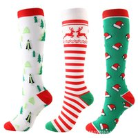 Socks & Hosiery 1 Pairs Christmas Compression High Stockings Women Men Pressure Compress Sports Pattern Running Knee Nylon Run