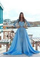 해변 블루 레이스 긴 소매 공주 코르셋 웨딩 게스트 드레스 분리형 치마 기차 아프리카 나이지리아 드레스 가운