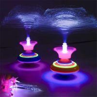 Ootdty Novelty Light Fiber Spinning Top Laser Music Luminous Music Gyro Light Up Kid Toy Q0528