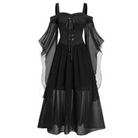 캐주얼 드레스 할로윈 여성 드레스 플러스 사이즈 콜드 어깨 나비 슬리브 레이스 최대 중세 의상 고딕 레트로