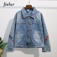Women's Jackets Jacket Women Embroidery Hipster Pockets Denim Coat Solid Color Slim Coats Jeans Button Autumn S-XXXL