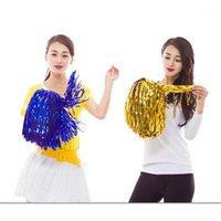 Cheerleading 2 teile / los Farbfast Metallic Streamer Pompoms Cheerleader Pompom Balljubing Dance Pom Aerobic Sport Artikel Supply1