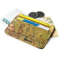 Dünya Haritası Vintage Fonksiyonu Kredi Kartvizit Tutucu Pasaport Kapak RFID Banka Depolama Organizatör İnce Çanta PU Leathe JllStx