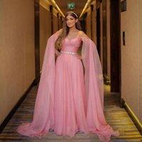 Pink Chiffon Evening Dresses with Cape Sleeve Off Shoulder Ruched Celebrity Gown Crystal Belt Boho Red Carpet Dress