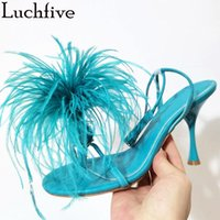 Sandals Feather Ankle Wrap High Heels Women Shoes Flip-flops T-show Pumps Female Summer Sexy Designer Party Sandalias Mujer