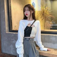 Women's Tanks & Camis Spice Girls' Short Vest Fold On Clothes Design Sense Of 2021 Spring Autumn Thin Sweater Trend
