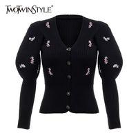 Dwotwinstyle patchowrk sceped caidigans для женщин v шеи слойные рукава тонкие черные свитера женские новые приливы одежда осень lj201017