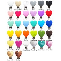 Chenkai 10PCS BPA Free Silicone Heart Baby Pacifier Dummy Teether Chain Holder Clips DIY Soother Nursing Toy Accessory 210812