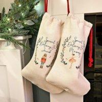 DIY Sublimation Blank Bgas Printing Linen Stockings Christmas Decoration Socks Halloween Advertising Drawstring Santa Sack Large Gift Kids Personalized