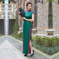 Ethnic Clothing Large Size 3XL 4XL Qipao Sexy Solid Satin Cheongsams Female Long High Split Dress Gown Chinese Vintage Evening Party Vestido